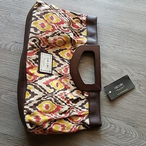 Wooden handle clutch purse